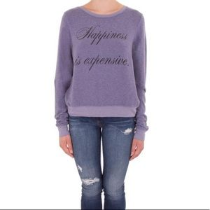 Wildfox happiness is expensive purple sweatshirt